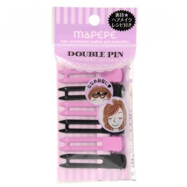 Double pin PK & BK 前蔭髮夾(粉紅及黑色)